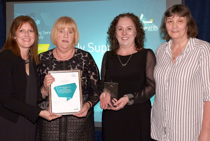 Jane Corser, Provide's Executive Clinical and Operations Director,  Judith Mills and Jo Adams from the Early Support Team and Lou Holford, Sister at Halstead Hospital